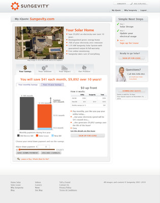 Sungevity's online iQuote process makes consumer solar power easy and efficient.  (PRNewsFoto/Sungevity)