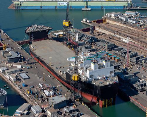 USNS Montford Point Floated from General Dynamics NASSCO Building Dock