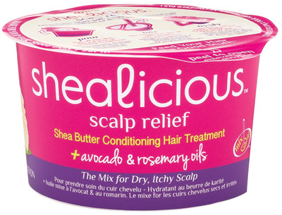 Shealicious(TM) Scalp Relief This conditioning cocktail helps alleviate dry, itchy scalp, containing a soothing mix of shea butter conditioner and a pure oil mixer of avocado and rosemary oils. SRP 2.5 oz. $3.49