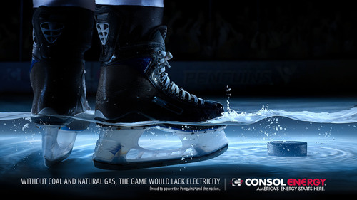 "For the 2012-2013 season, CONSOL Energy launched a new ad campaign that is featured throughout CONSOL Energy Center.  The colorful, eye-catching artwork will have fans pondering the question ""What would the game of ice hockey be like without reliable electricity?""    (PRNewsFoto/CONSOL Energy Inc.)"