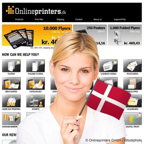 Companies and private customers in Denmark find all standard printed products such as flyers, postcards, posters, banners, catalogues, brochures and many more at reasonable prices and in top printing quality in the new online shop onlineprinters.dk . The new Danish country shop of the German printing service provider Onlineprinters GmbH is calculated in the national currency DKK. Copyright: Onlineprinters / iStockphoto (PRNewsFoto/Onlineprinters GmbH)