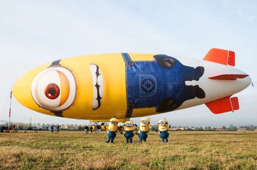 Several of the Minions from Universal Pictures and Illumination Entertainment's DESPICABLE ME 2 will be the first to board the Despicablimp.  (PRNewsFoto/Universal Pictures, Suzanne Hanover)