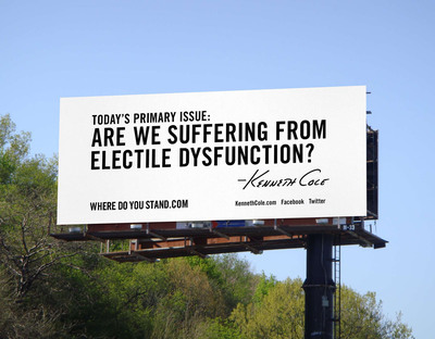 Kenneth Cole Unveils His Newest Billboard...A Social Commentary on the Primary Elections & Asks the Facebook Community to Determine His Next Billboard.  (PRNewsFoto/Kenneth Cole Productions, Inc.)