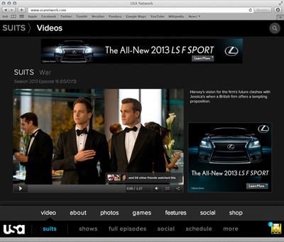 Suits Video Hub.  (PRNewsFoto/USA Network)