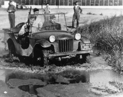 """The first ¼ ton, four-wheel drive reconnaissance truck """"pilot model"""" produced for the U.S. Army was built by the American Bantam Car Company of Butler, Pa. It was delivered for testing to Camp Holabird in Baltimore on Sept. 23, 1940. Subsequent designs by Willys-Overland and Ford while important were refinements on this original U.S. Army and American Bantam concept."""