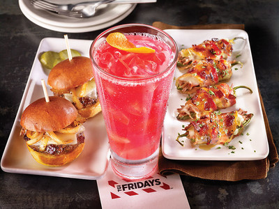 TGI Fridays is breaking the barriers by introducing a new line-up of food and drink features all day, every day with the launch of Happy Every Hour. Pictured are new menu items Jack Sliders, Blood Orange Cooler and Bacon-wrapped Stuffed Jalapenos.