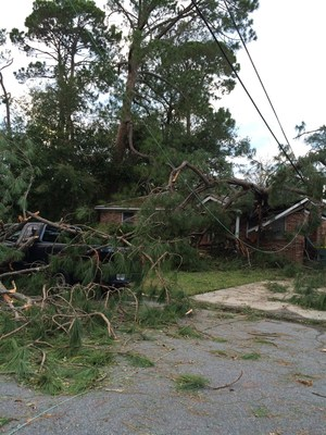 Severe damage at a Coastal Georgia home. Georgia Power estimates that thousands of customers in some of the hardest hits areas of the coast may not be able to reconnect to Georgia Power service due to extensive damage.
