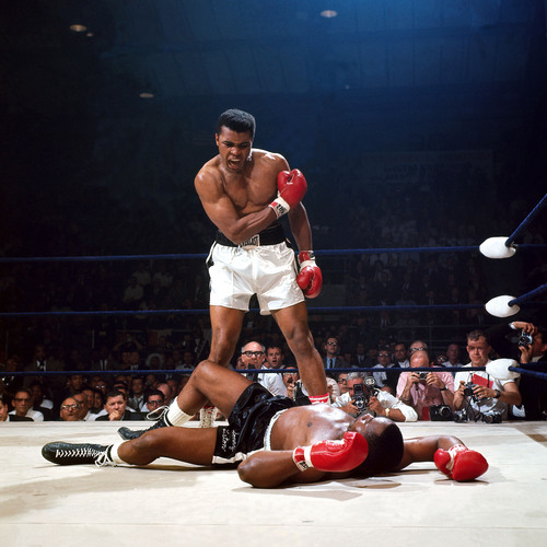 Muhammad Ali knocks out Sonny Liston in 1965. (Neil Leifer/Sports Illustrated)(PRNewsFoto/Newseum, Neil ...