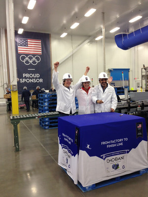 Chobani founder Hamdi Ulukaya meets with plant employees in Twin Falls, ID as they prepared a shipment for Team USA earlier this year. The brand is proud to continue to serve as the official yogurt provider to Team USA for the 2016, 2018 and 2020 Games and to be an authentic part of athletes training regimens. (PRNewsFoto/Chobani)