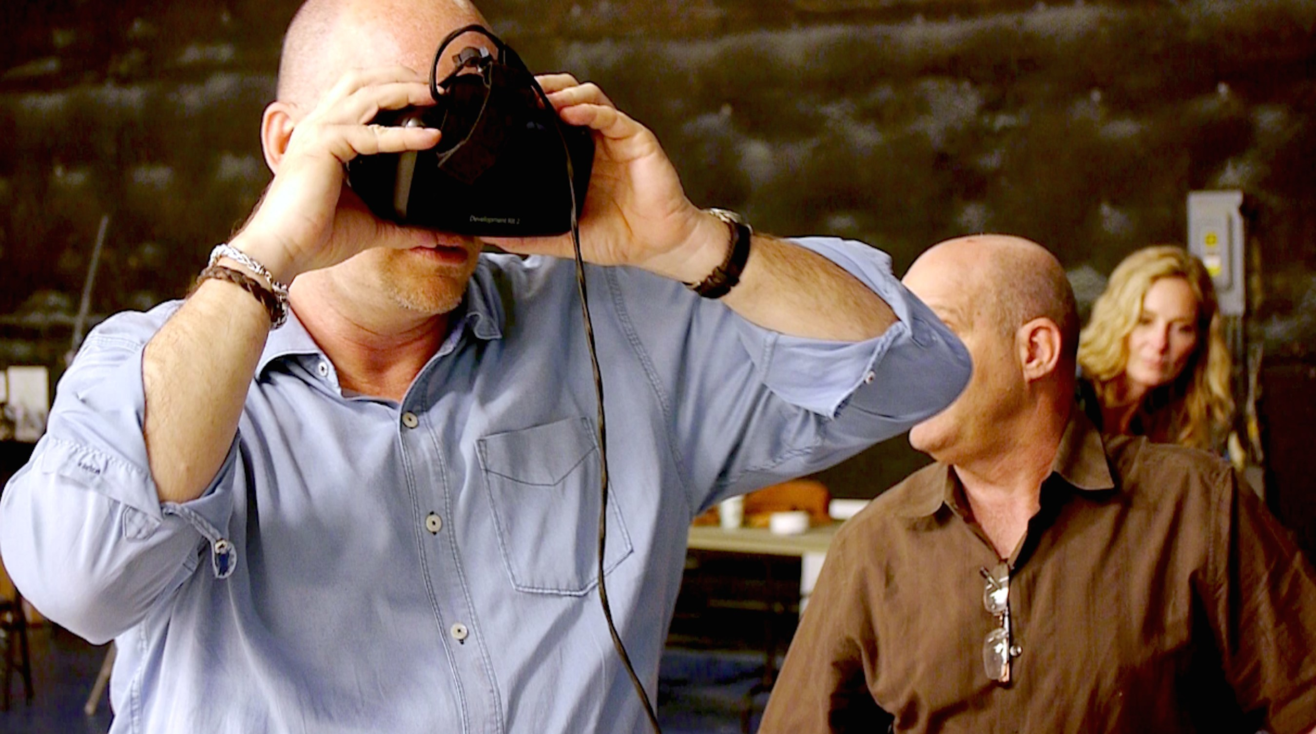 Writer/Director David Marlett on the set of MansLaughter, using an Oculus Rift DK2 to review VR rushes in real-time.