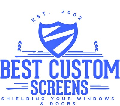 Classic Retro logo of Best Custom Screens designed to show how the company SHIELDS WINDOWS AND DOORS