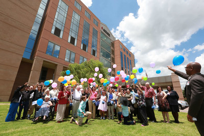 Attendees of the annual National Cancer Survivors Day luncheon & balloon release at Houston Methodist Willowbrook Hospital, released multi-colored balloons into the sky to celebrate the luncheon theme, Letting Hope Soar.