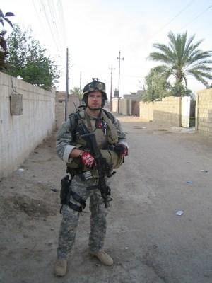 "Ryan ""Birdman"" Parrott on patrol in Iraq."