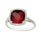 Tempting Sangria: Cushion-Cut Garnet & Diamond Cocktail Ring from Allurez in 14k White Gold featuring a 3.50 carat Garnet center stone (PRNewsFoto/Allurez)