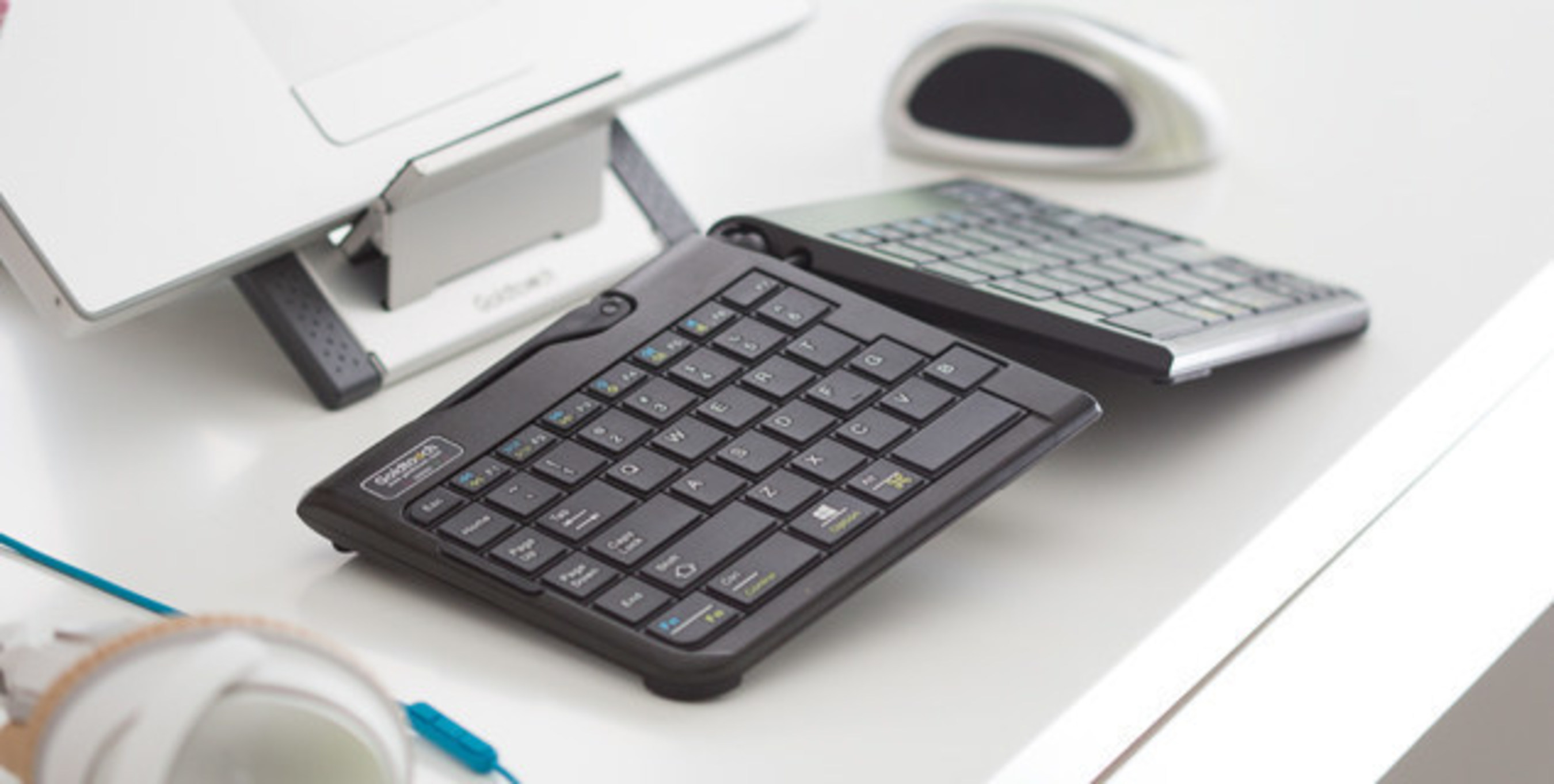 The Go!2 Mobile Bundle includes the Go!2 Mobile Keyboard and Go! Aluminum Travel and Laptop Stand. Two Incredible products for one incredible price for a limited time. Available in both wired and wireless configurations.