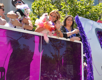 Celebrity Apprentice alum, Aubrey O'Day, celebrating with Virgin America teammates onboard the airline's float at SF Pride.  (PRNewsFoto/Virgin America)