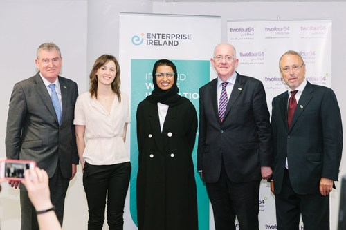 L-R: Kevin Sherry, Executive Director Enterprise Ireland; Nancy Salam, Trade Development Executive; H.E. Noura Al Kaabi, Minister of State For Federal National Council Affairs & Chairwoman of twofour54; H.E. Charles Flanagan, Irish Minister for Foreign Affairs & Trade; Patrick Hennessy, Ambassador of Ireland to the UAE (PRNewsFoto/Enterprise Ireland)