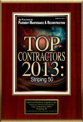 """American Roadway Logistics, Inc. Selected For """"Top Contractors 2013: Striping 50"""".  (PRNewsFoto/American Registry)"""