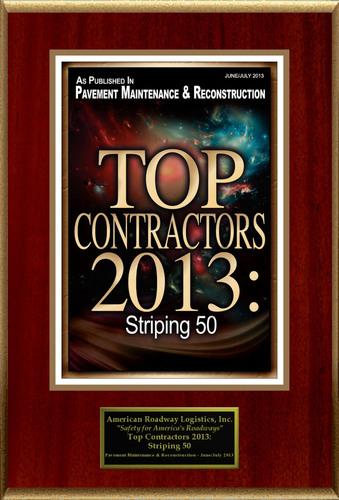 "American Roadway Logistics, Inc. Selected For ""Top Contractors 2013: Striping 50"".  ..."