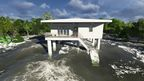 Tsunami resistant house. Floating buildings FDN save people from climate change and tsunamis