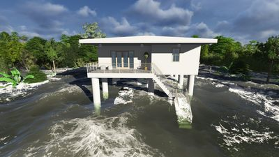 Tsunami resistant house. Floating buildings FDN save people from climate change and tsunamis (PRNewsFoto/FDN)