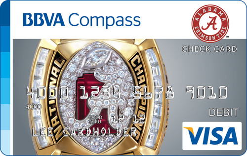 BBVA Compass commemorates the University of Alabama's four national titles in 2012 with Bama-branded check cards.  (PRNewsFoto/BBVA Compass)