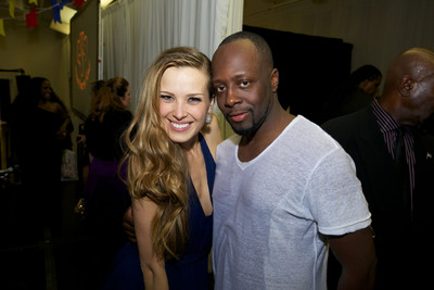 Petra Nemcova, Founder and Chairwoman, Happy Hearts Fund and evening performer Wyclef Jean celebrate in the afterglow of the Happy Hearts Fund Land of Dreams: Haiti gala on Nov. 5, 2011 in New York City.  (PRNewsFoto/Happy Hearts Fund)