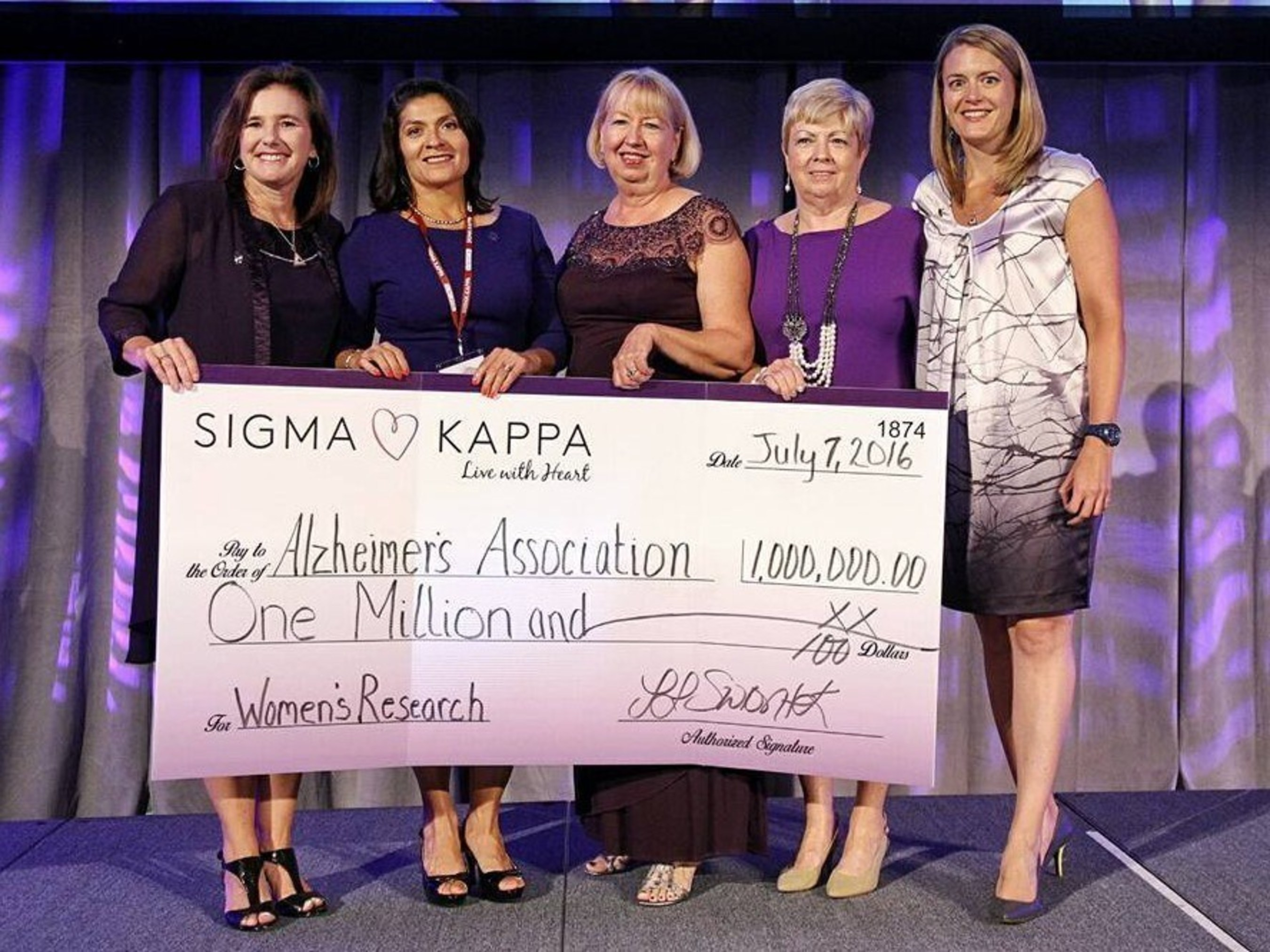 Pictured left to right: Cheri De Jong, outgoing Sigma Kappa president; Dr. Maria Carrillo, Alzheimer's Association's Chief Science Officer; Carolyn Tieger, Foundation Trustee; Sarah Womble, Foundation President; and Ann O'Connell, Foundation Trustee