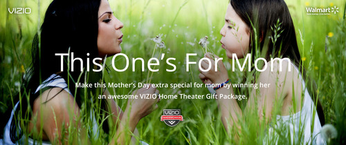 "In partnership with Walmart, VIZIO announced today the ""This One's For Mom"" contest, giving family members the chance to pay tribute to their moms this Mother's Day.  (PRNewsFoto/VIZIO, Inc.)"