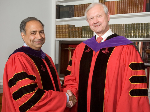 Rutgers Business School Professor Darius Palia (left) became the first holder of the Thomas A. Renyi Chair in Banking. Renyi (Rutgers MBA '68) is the former CEO and Chairman of the Bank of New York Mellon.  (PRNewsFoto/Rutgers Business School)