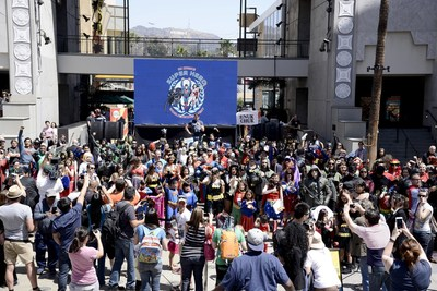 Fans dressed as DC Comics Super Heroes gather to set the Guinness World Record for most people dressed as DC Comics Super Heroes within a 24-hour period at the DC Comics Super Hero World Record Event at the Hollywood & Highland Center on April 18, 2015 in Los Angeles, California.