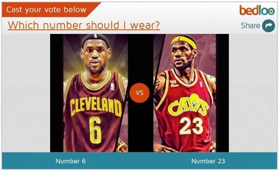 "Lebron James ""No. 6 or 23"" Question on Bedloo (PRNewsFoto/Bedloo)"