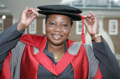 Fatou Bensouda, newly elected Chief Prosecutor of the International Criminal Court (ICC), wears her robes in preparation to be awarded an honorary degree by Middlesex University London (on 16 July 2012), in recognition of her work in international law and human rights.