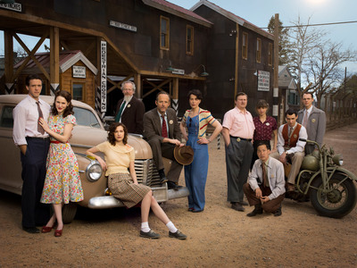 (L-R): Ashley Zukerman as Charlie Isaacs, Rachel Brosnahan as Abby Isaacs, Alexia Fast as Callie Winter, Daniel Stern as Glen Babbit, John Benjamin Hickey as Frank Winter,  Olivia Williams as Liza Winter, Michael Chernus as Louis Fritz Fedowitz, Eddie Shin as Sid Liao, Katja Herbers as Helen Prins, Harry Lloyd as Paul Crosley and Christopher Denham as Jim Meeks in WGN America's Manhattan, premiering SUNDAY, July 27 (10 pm ET / 9 pm CT) Photo: Justin Stephens/WGN America