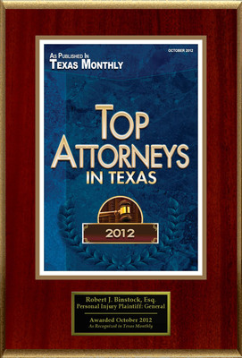 Attorney Robert J. Binstock Selected for List of Top Rated Lawyers in TX.  (PRNewsFoto/American Registry)