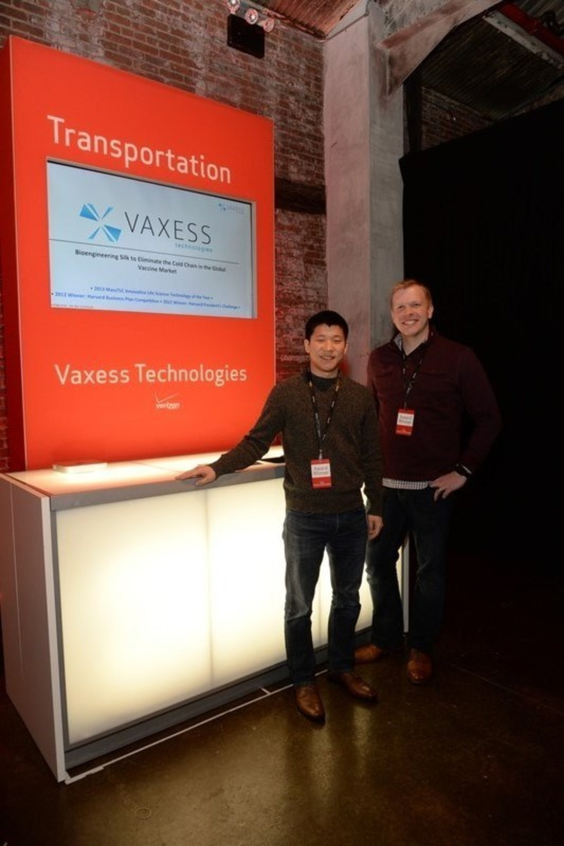 $1M Winner in the transportation category: Vaxess Technologies - Each year, more than 2.4 million people die from diseases that could be prevented by vaccines, and more than 20% of children born each year do not receive proper immunization. This occurs because 97% of vaccines require cold storage between 2° and 8°C, and a lack of cold chain infrastructure limits this access. Vaxess Technologies, based in Cambridge, Mass., has created a soluble, silk-stabilized vaccine that can be shipped without refrigeration, and extend the global reach and access to vaccine products.