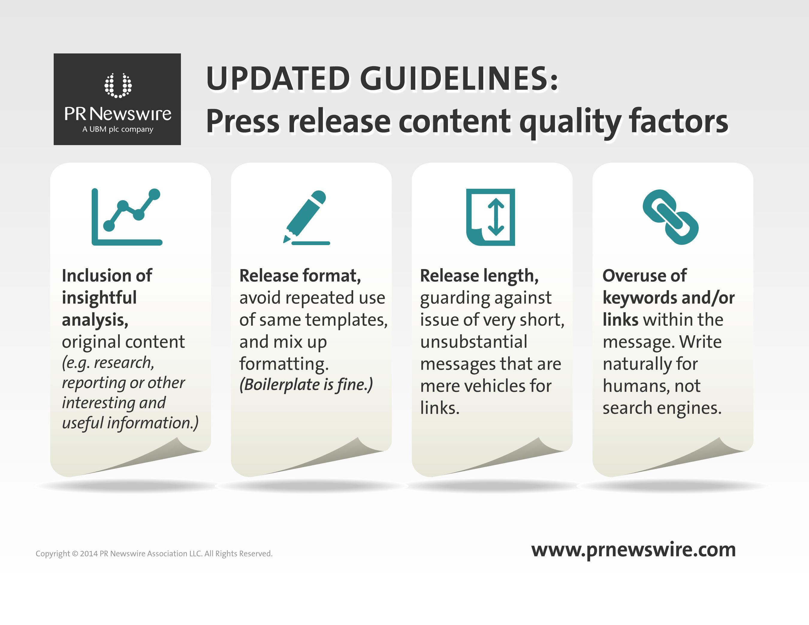 PR Newswire's new guidelines to improve press release content quality. (PRNewsFoto/PR Newswire Association LLC)