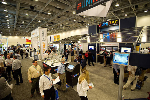 Intrigued Visitors Stop by Exhibitor Booths.  (PRNewsFoto/Intersolar North America)