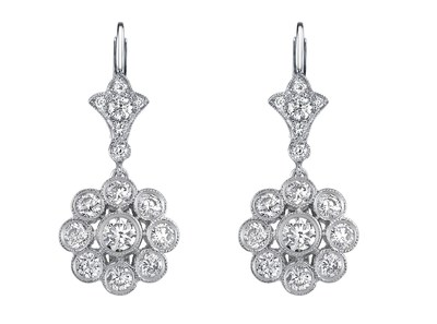Diamond and platinum flower earrings set with 30 round brilliant-cut diamonds from a fleur-de-lis diamond top. Hand crafted, signed and designed by Neil Lane.