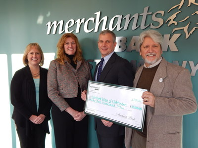 Merchants Bank United Way Check Presentation 2016 (L-R) Cheryl Houchens, Community Reinvestment and Compliance Officer- Merchants Bank; Marie Thresher, Chief Operating Officer - Merchants Bank; Geoffrey Hesslink, CEO - Merchants Bank; John Cronin, Director of Resource Development - United Way