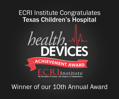 """Texas Children's Hospital wins ECRI Institute's 10th Annual Health Devices Achievement Award for alarms Initiative. The winning submission, """"Alarm Management Reboot,"""" describes Texas Children's successful effort to improve patient safety by incorporating enterprise-wide alarm management practices to make alarms more meaningful and actionable."""