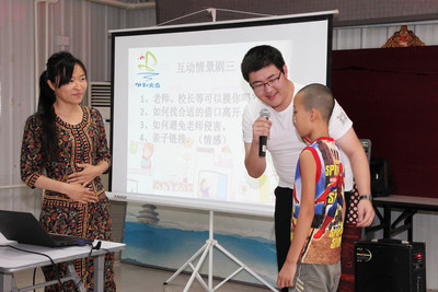 Yili Ark volunteer Pan Qiushi helps educate young learners about how to stay safe