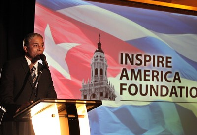 Cuban Opposition Leader, Dr. Oscar Elias Biscet, speaks to a crowd of almost 1,000 people at the inauguration of Inspire America Foundation ( inspireamerica.org ).  At the event, President Alvaro Uribe of Colombia sent a video supporting Dr. Biscet's struggle against the Castro regime in Cuba.  Also sending their support were Senator Marco Rubio, Representatives Ileana Ros Lehtinen, Lincoln Diaz-Balart, Carlos Curbelo and Ambassador Jim Cason, Miami Mayor Tomas Regalado and Hialeah Mayor Carlos Hernandez.