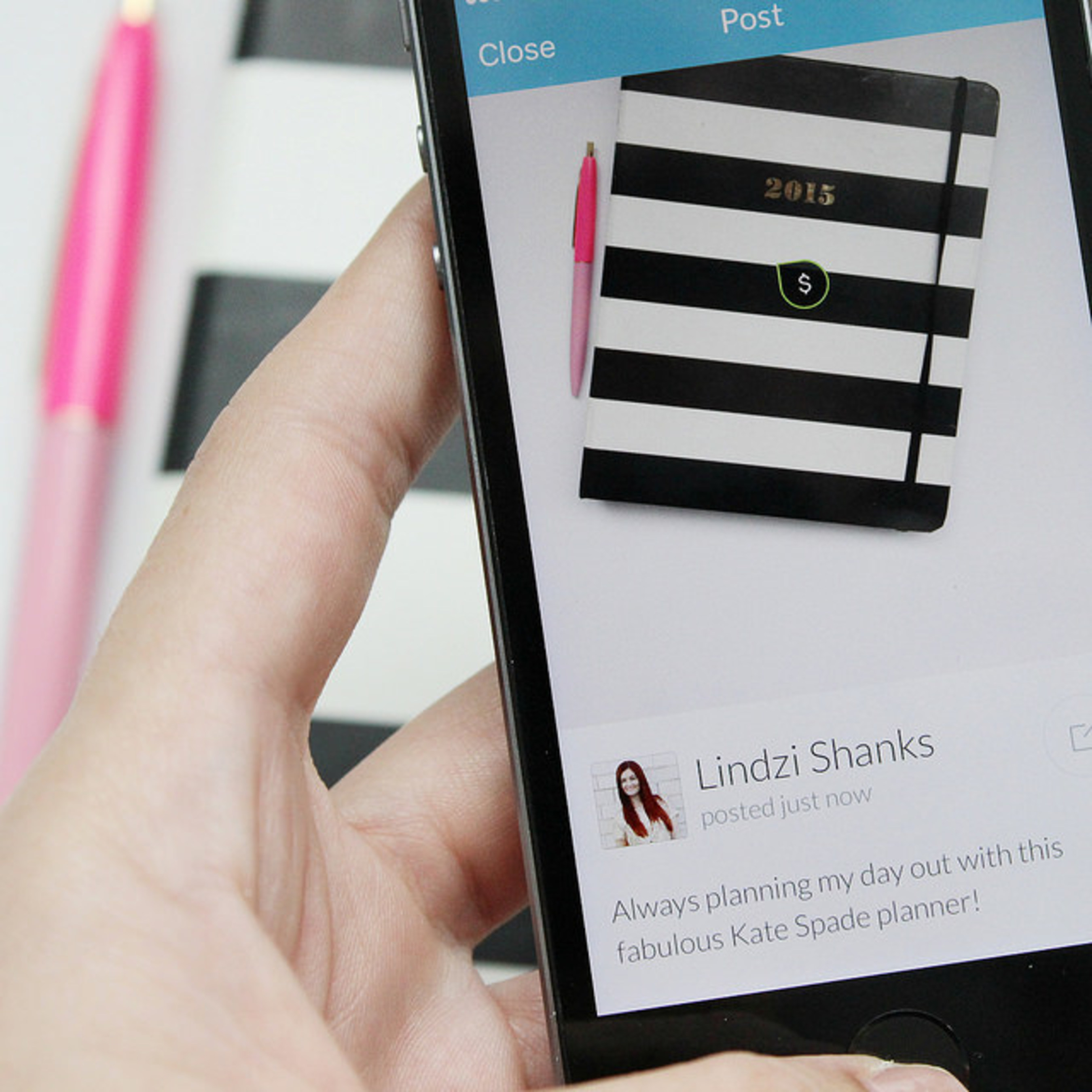 Tagspire mobile app featuring user-generated post with an instant purchase option for everyday lifestyle product recommendations.