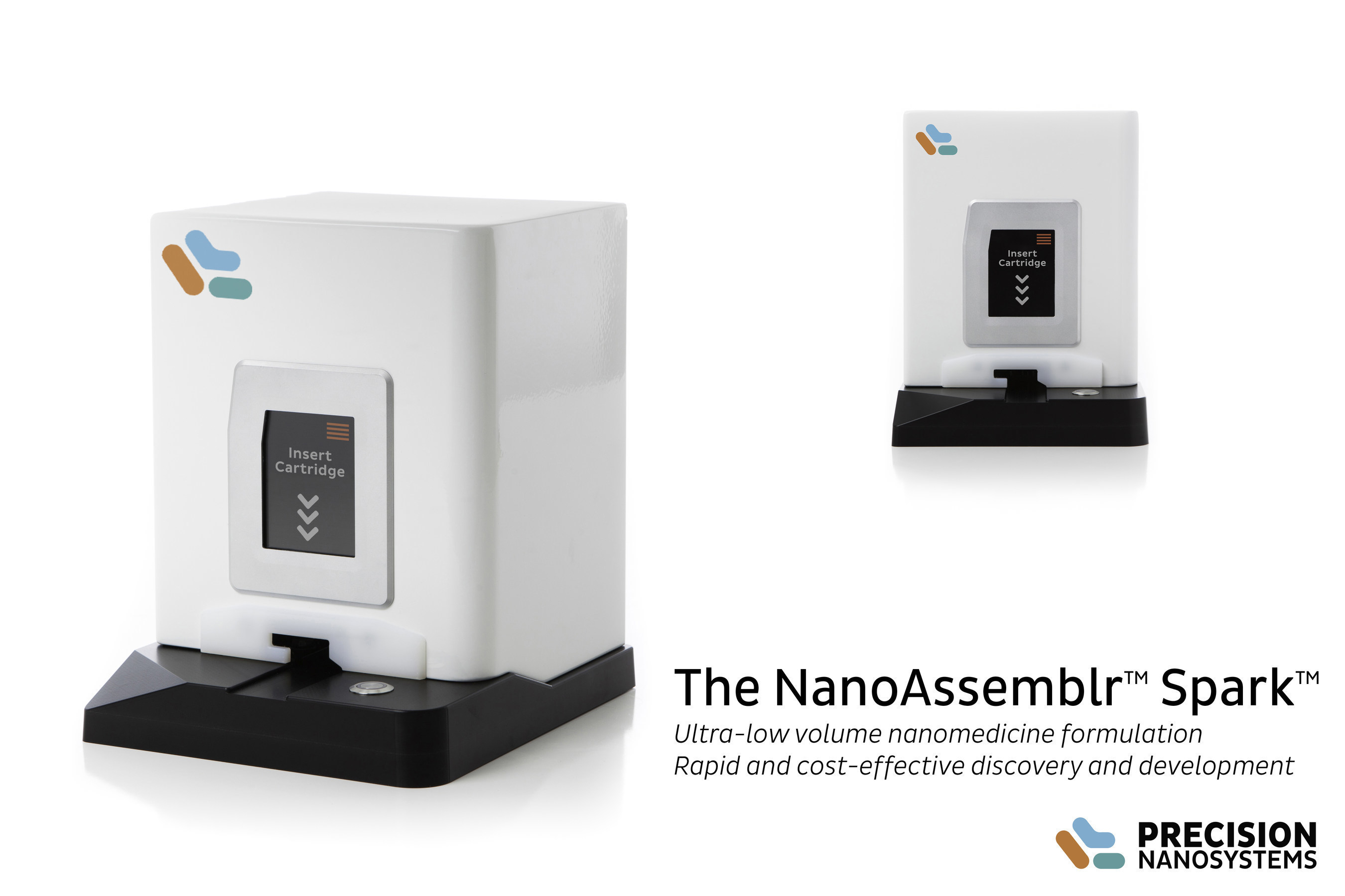 The NanoAssemblr Spark instrument from Precision NanoSystems uses proprietary microfluidics technology for the controlled and reproducible manufacture of 25 µL - 250 µL nanoparticles in less than 10 seconds.