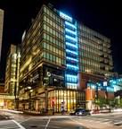 Boston's Dana Farber Cancer Institute participates in the #LightitBlue campaign for Prostate Cancer Awareness Month. Photo Credit: Sam Ogden