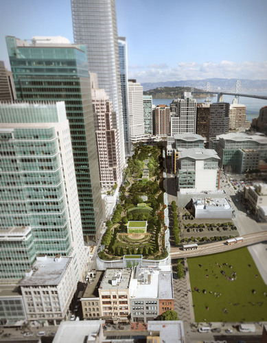 In this daytime aerial view, the 5.4-acre rooftop park can be seen above the Transbay Transit Center. Designed by Pelli Clarke Pelli Architects, the Transbay Transit Center will be the new multi-modal transportation hub for San Francisco. The building is scheduled to open in 2017. Courtesy of Pelli Clarke Pelli Architects. (PRNewsFoto/Pelli Clarke Pelli Architects)