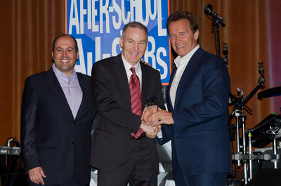 CEO of After-School All-Stars Ben Paul, MetroPCS SVP of Corporate Marketing Phil Terry, and Governor Arnold Schwarzenegger celebrate the announcement of the two organization's partnership in Orlando, Fla.  (PRNewsFoto/MetroPCS Communications, Inc.)