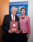 Wm. Scott Magargee, III, of counsel at Dechert, LLP, receives the John C. Haas Regional Champion Medal from United Way of Greater Philadelphia and Southern New Jersey President and CEO Jill Michal. The Haas Medal has been annually awarded to a distinguished leader from the Greater Philadelphia region whose commitment to United Way's mission embodies the spirit of the late John C. Haas, legendary philanthropist and longtime champion of the organization's mission.  (PRNewsFoto/United Way of Greater Philadelphia and Southern New Jersey)