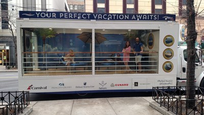 "Through Saturday, Carnival Corporation is ""sailing"" the streets of Chicago with a glass-bodied truck featuring a traveling cruise ship deck"
